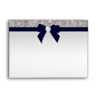 Faux Silver Sequins Diamonds Navy Blue Bow Envelope