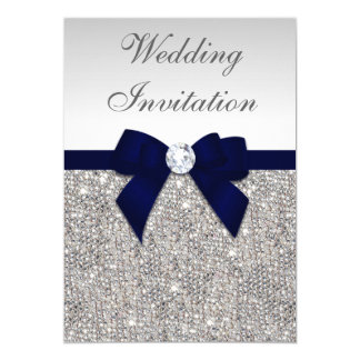 Faux Silver Sequins Diamonds Navy Bow Wedding Invitation