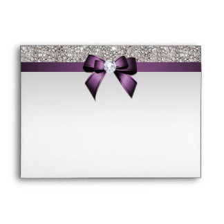 Faux Silver Sequins Diamonds Purple Bow Envelope