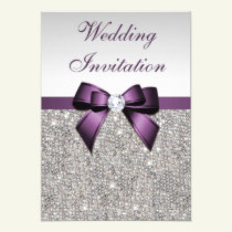 Faux Silver Sequins Diamonds Purple Bow Wedding Card
