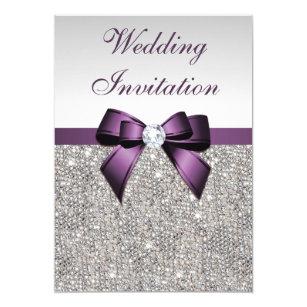 Faux Silver Sequins Diamonds Purple Bow Wedding Card