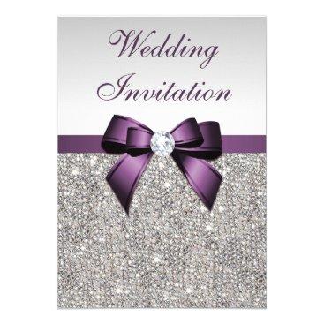 GroovyGraphics Faux Silver Sequins Diamonds Purple Bow Wedding Card