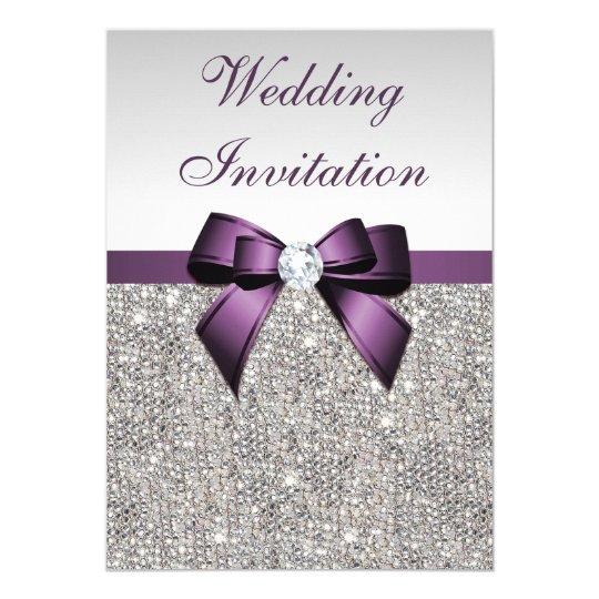 Faux silver sequins diamonds purple bow wedding card zazzle faux silver sequins diamonds purple bow wedding card stopboris Choice Image