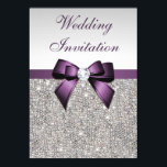 """Faux Silver Sequins Diamonds Purple Bow Wedding Invitation<br><div class=""""desc"""">Elegant, personalized custom silver and purple wedding invitations with a beautiful glittery silver printed image sequins jewels, gems, glitter pattern, cute, sophisticated shiny printed purple bows and ribbons and pretty digital diamonds bling jewels and dark grey text on a silver gradient background. Please note: All invites on Zazzle have flat...</div>"""