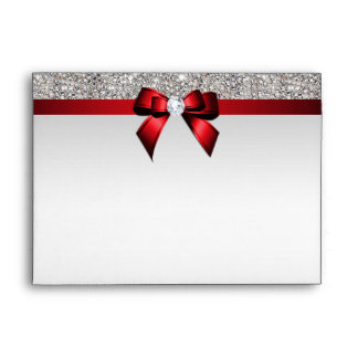Faux Silver Sequins Diamonds Red Bow Envelope