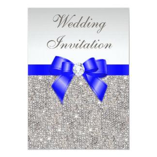 Faux Silver Sequins Diamonds Royal Blue Wedding Card