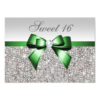 Faux Silver Sequins Emerald Bow Diamond Sweet 16 Card