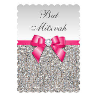 Faux Silver Sequins Hot Pink Bow Bat Mitzvah Card
