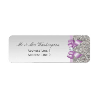 Faux Silver Sequins Lilac Bow and Diamond Label