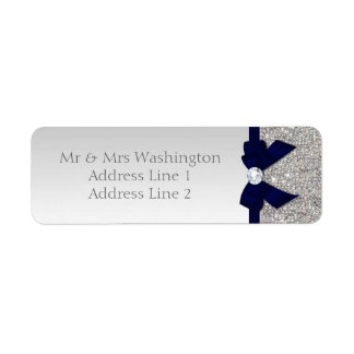 Faux Silver Sequins Navy Bow and Diamond Label