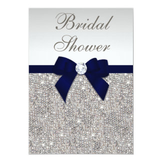Faux Silver Sequins Navy Bow Bridal Shower Card