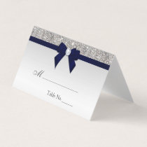 Faux Silver Sequins Navy Bow Place Card