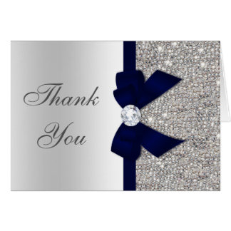 Faux Silver Sequins Navy Diamond Bow Thank You Card