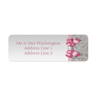 Faux Silver Sequins Pink Bow and Diamond Label