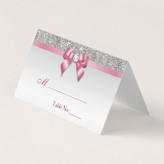 Faux Silver Sequins Pink Bow Place Card