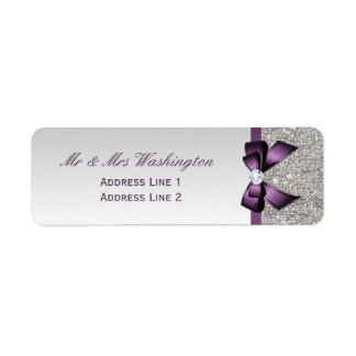 Faux Silver Sequins Purple Bow and Diamond Label