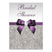 Faux Silver Sequins Purple Bow Bridal Shower Card