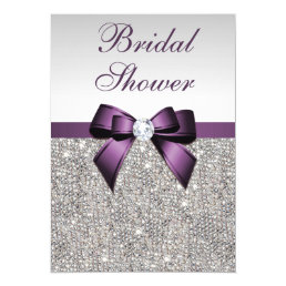 Faux Silver Sequins Purple Bow Bridal Shower Card