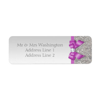 Faux Silver Sequins Radiant Orchid Bow and Diamond Label