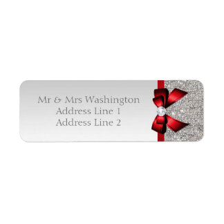 Faux Silver Sequins Red Bow and Diamond Label