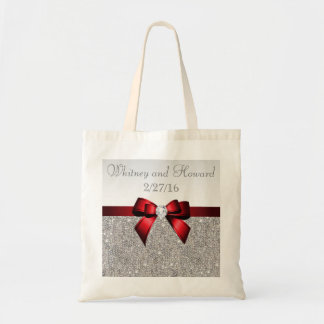 Faux Silver Sequins Red Bow Wedding Favor Tote Bag