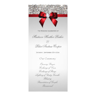 Faux Silver Sequins Red Bow Wedding Program