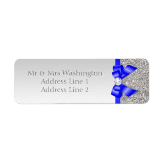 Faux Silver Sequins Royal Blue Bow and Diamond Label
