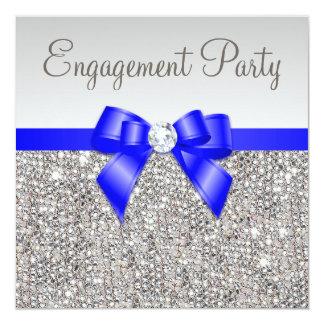 Faux Silver Sequins Royal Blue Bow Engagement Card