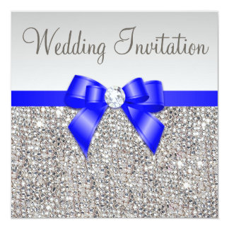 Attractive Faux Silver Sequins Royal Blue Bow Wedding Card