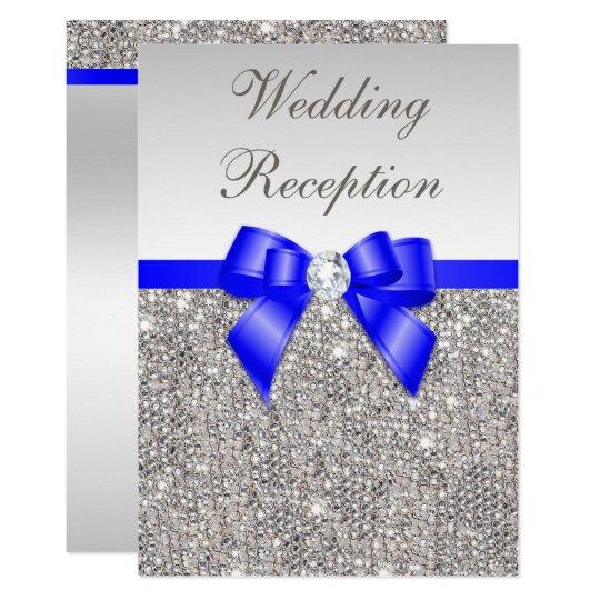 Faux Silver Sequins Royal Blue Wedding Reception Invitation Zazzle