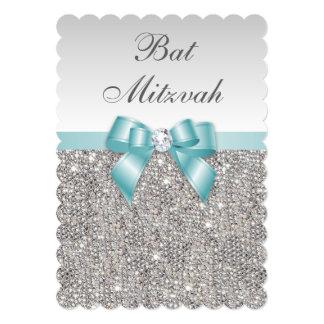 Faux Silver Sequins Teal Blue Bat Mitzvah Card