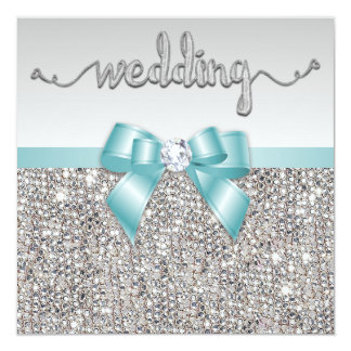 Faux Silver Sequins Teal Blue Bow Wedding Card