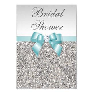 Faux Silver Sequins Teal Blue Bridal Shower Card