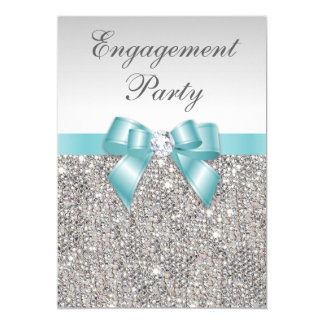 Faux Silver Sequins Teal Bow Engagement Party Card