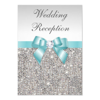 Faux Silver Sequins Teal Bow Wedding Reception Card
