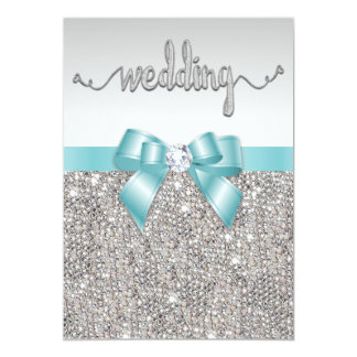Faux Silver Sequins Teal Bow Wedding Typography Card