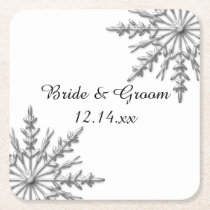 Faux Silver Snowflakes Winter Wedding Square Paper Coaster