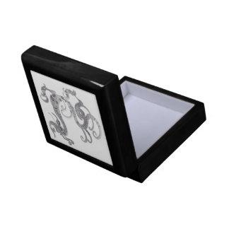 Faux Silver Stylized Chinese Dragon Gift Box