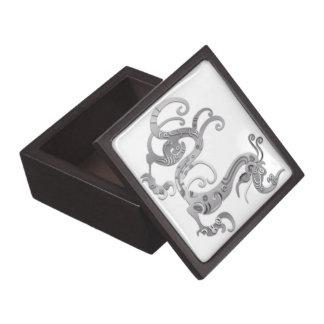 Faux Silver Stylized Chinese Dragon Jewelry Box