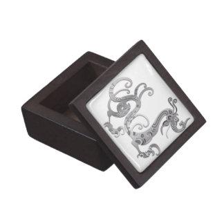 Faux Silver Stylized Chinese Dragon Keepsake Box
