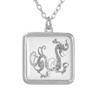 Faux Silver Stylized Chinese Dragon Square Pendant Necklace