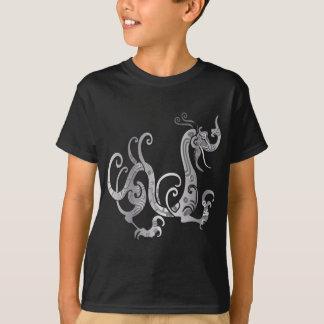 Faux Silver Stylized Chinese Dragon T-Shirt