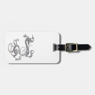 Faux Silver Stylized Chinese Dragon Tags For Bags
