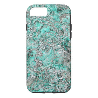 Faux Silver Teal Turquoise Minerals Agate Pattern iPhone 8/7 Case