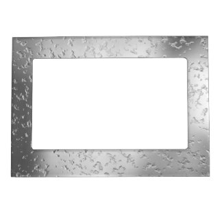 Faux Silver Textured Metal 015 Magnetic Photo Frame