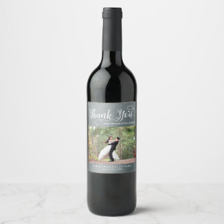 Faux Silver Thank You Custom Photo Wedding Favor Wine Label