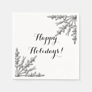 Faux Silver Winter Snowflake Happy Holidays Napkin