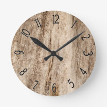 Faux Soft Old Wood Round Clock