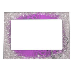 Faux Sparkle, Glitter on Purple, Custom Magnetic Photo Frame