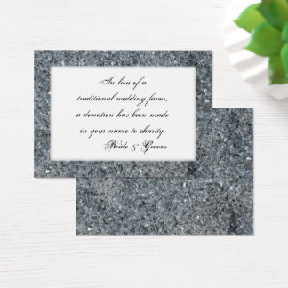 Faux Sparkle Wedding Charity Favor Card